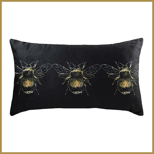 Velvet Touch Bee Cushion Black Small