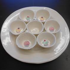 Cakevormpjes in porselein met transfer