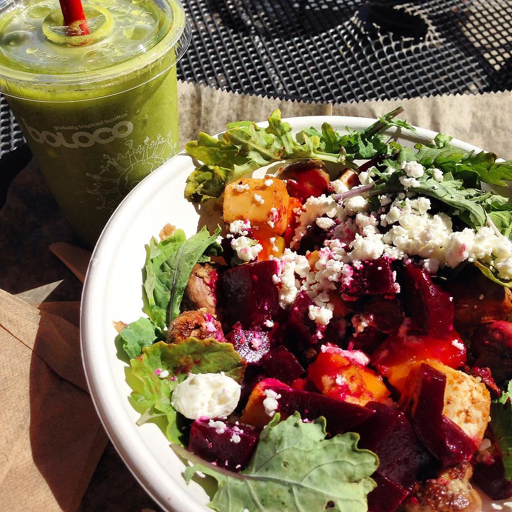 New England Harvest salad with tofu and a side Tropi-kale smoothie!