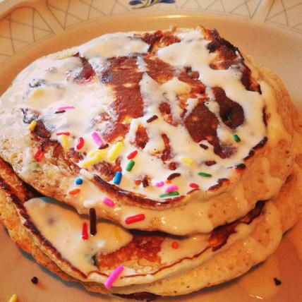Birthday Cake Protein Pancakes