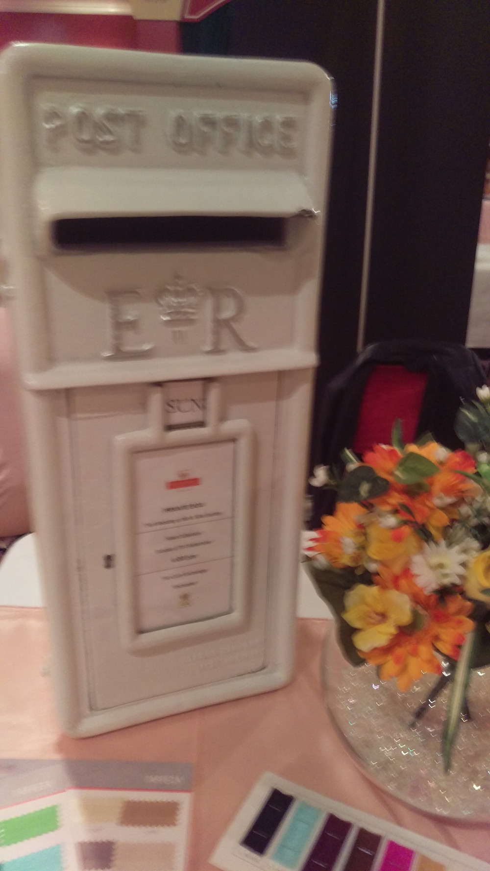 Cast Iron Genuine E+R Wedding Post Box Wedding Venue Table Decoration by Embellish Venue Styling Kent Finishing Touches Replica - www.embellishvenuestyling.uk