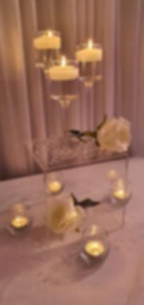 Stemmed Candlelight Cube Centrepiece - Exquisite Collection - Venue Decoration Kent Essex Sussex Surrey London