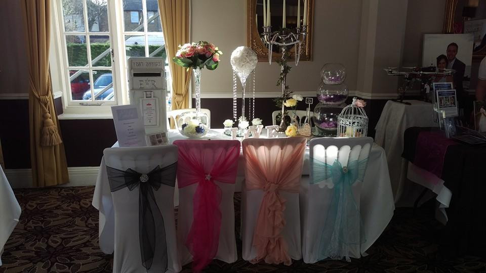 table decorations, chair cover kent, wedding fair