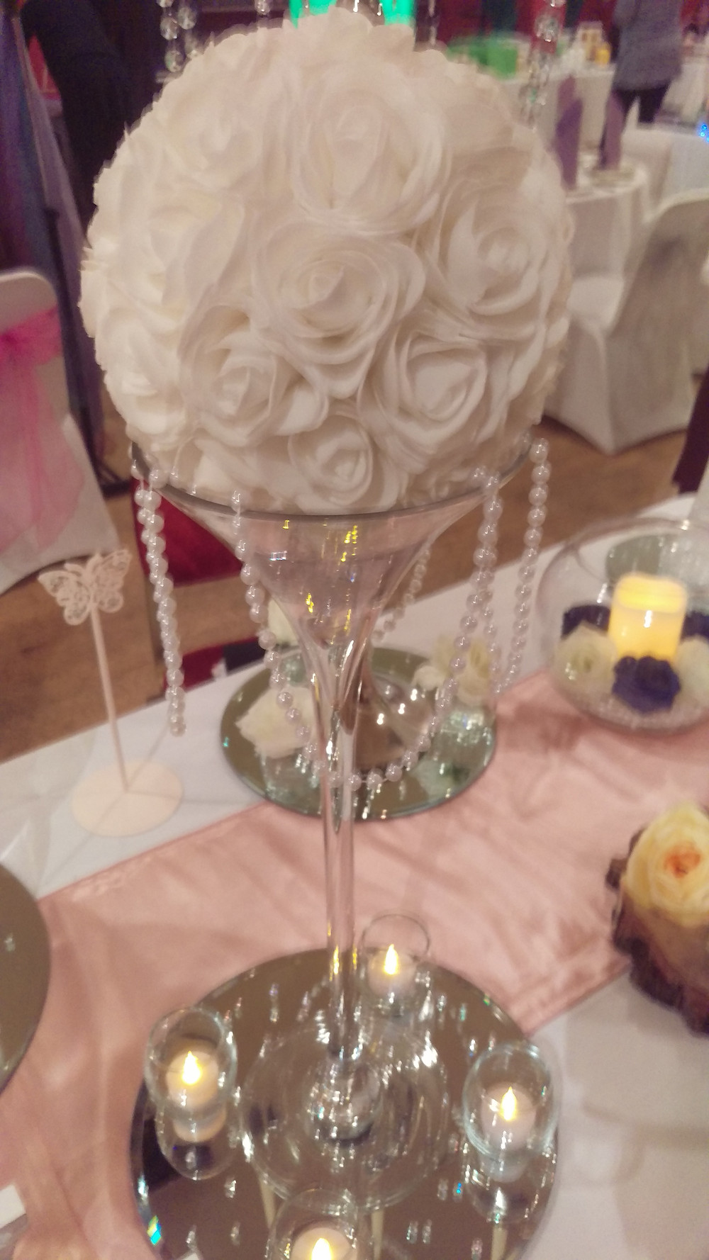 Martini Vase with White Pomander and Pearl Garland Table Center Wedding Venue Table Decoration by Embellish Venue Styling Kent - www.embellishvenuestyling.uk