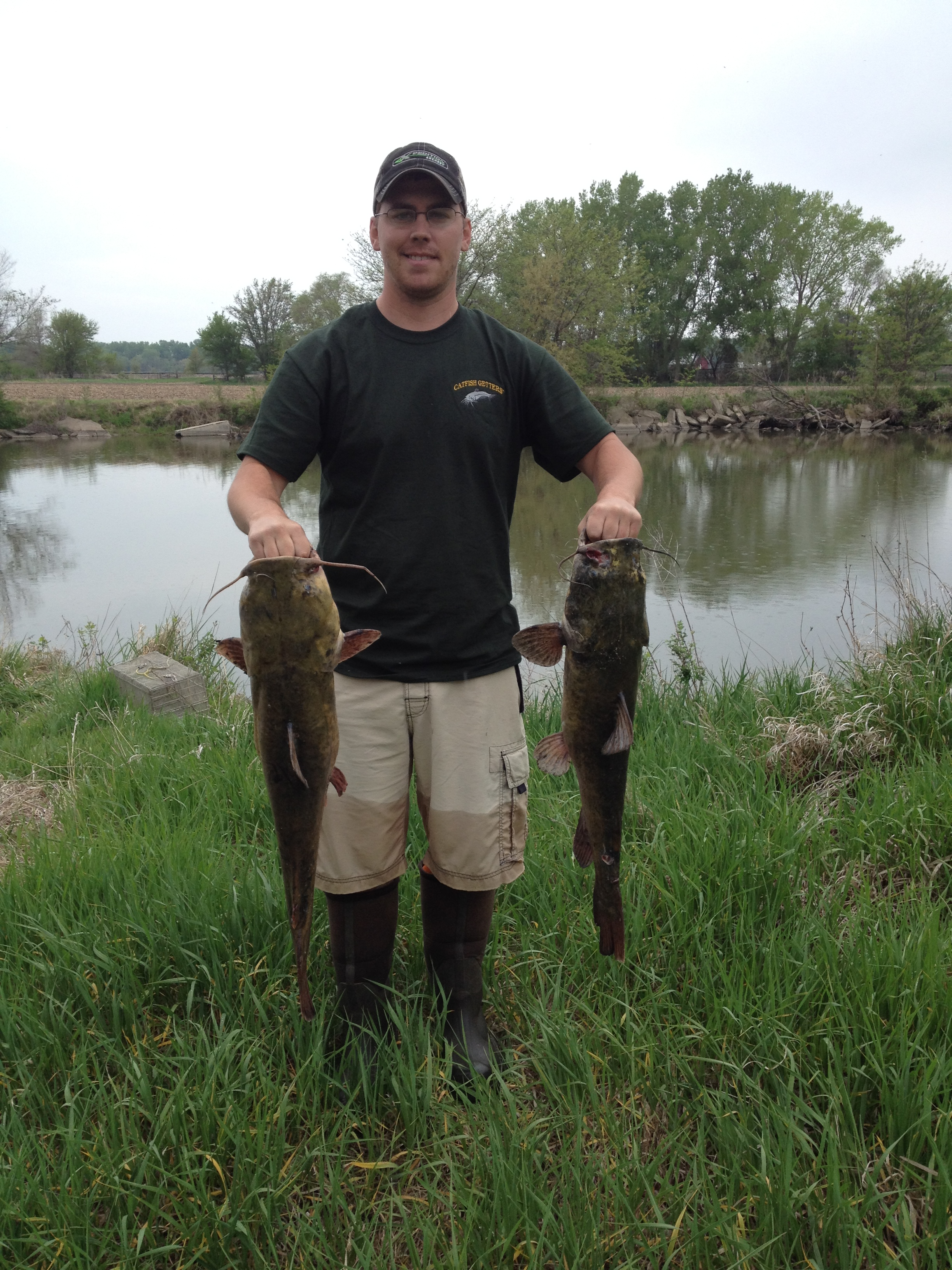 Ryan with two nice flathead catfish