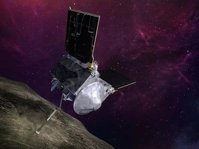 Osiris-Rex Spacecraft Tags Asteroid Bennu