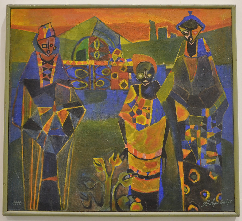 "Painting of Khalifa Gueye from ""The School of Dakar""d exhibited at Black Civilization Museum"
