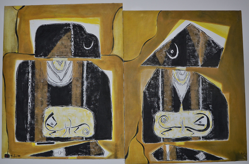 Painting by Zulu Mbaye from the School of Dakar exhibited at the Museum of Black Civilizations