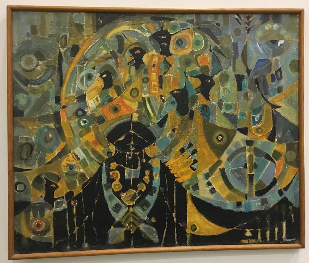 Tableau d'Ibou Diouf de l'Ecole de Dakar exposé au Musée des Civilisations Noires