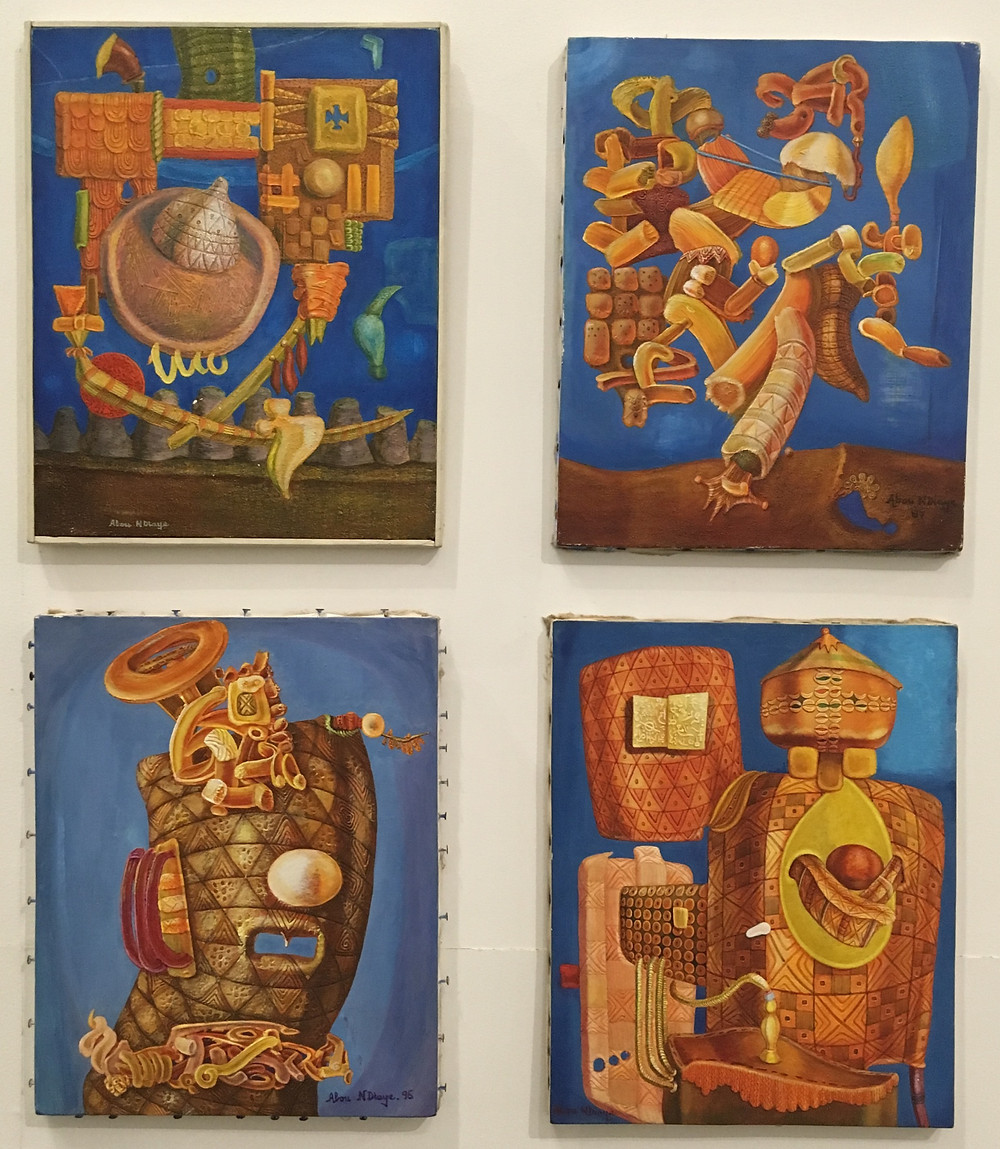 Tableau d'Abou N'diaye de l'Ecole de Dakar exposé au Musée des Civilisations Noires