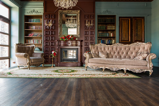 Luxury interior of home library. Sitting