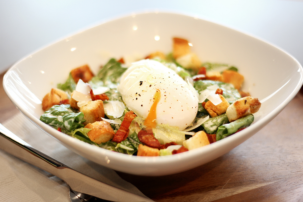 poached egg caesar salad