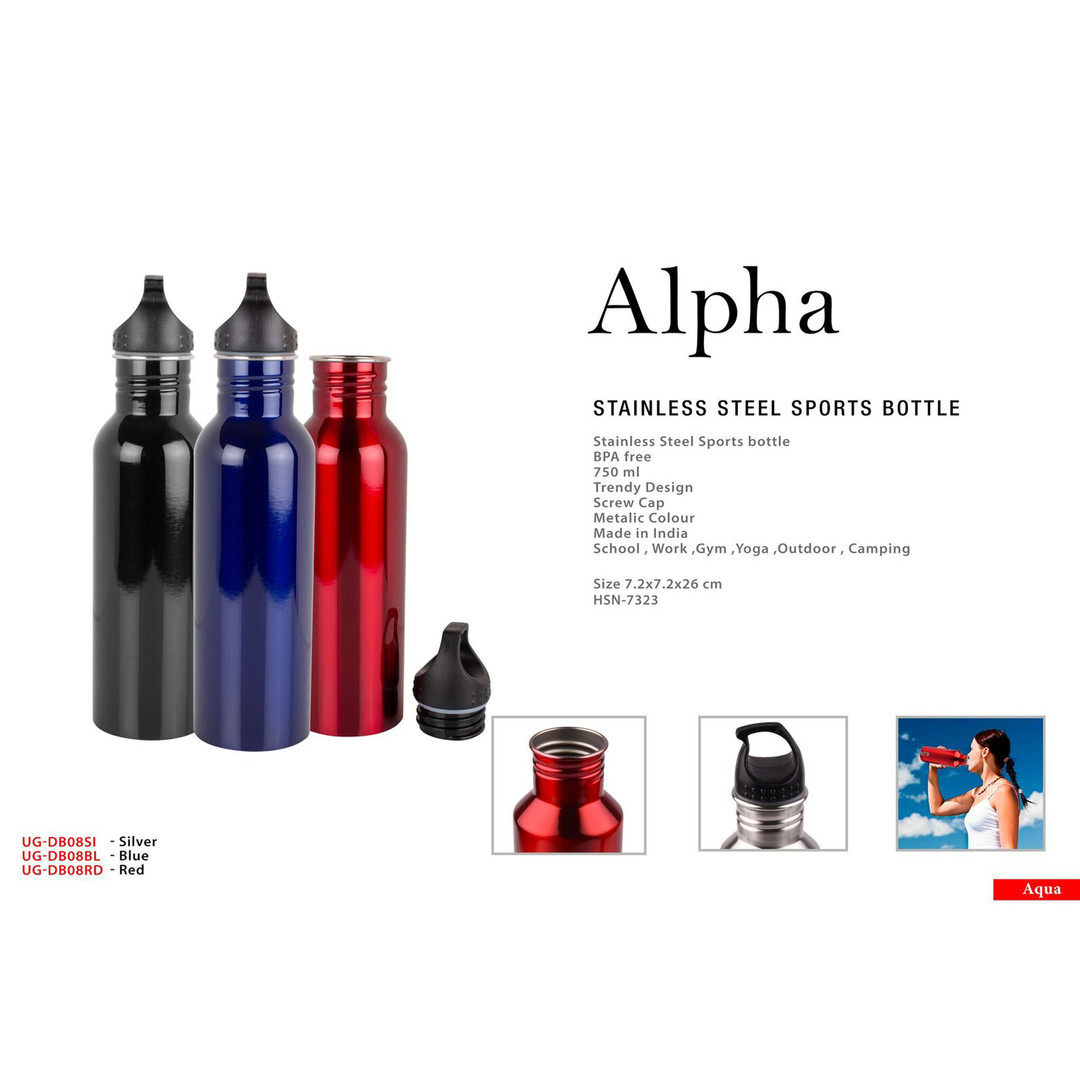 alpha stanless steel sports bottle squar