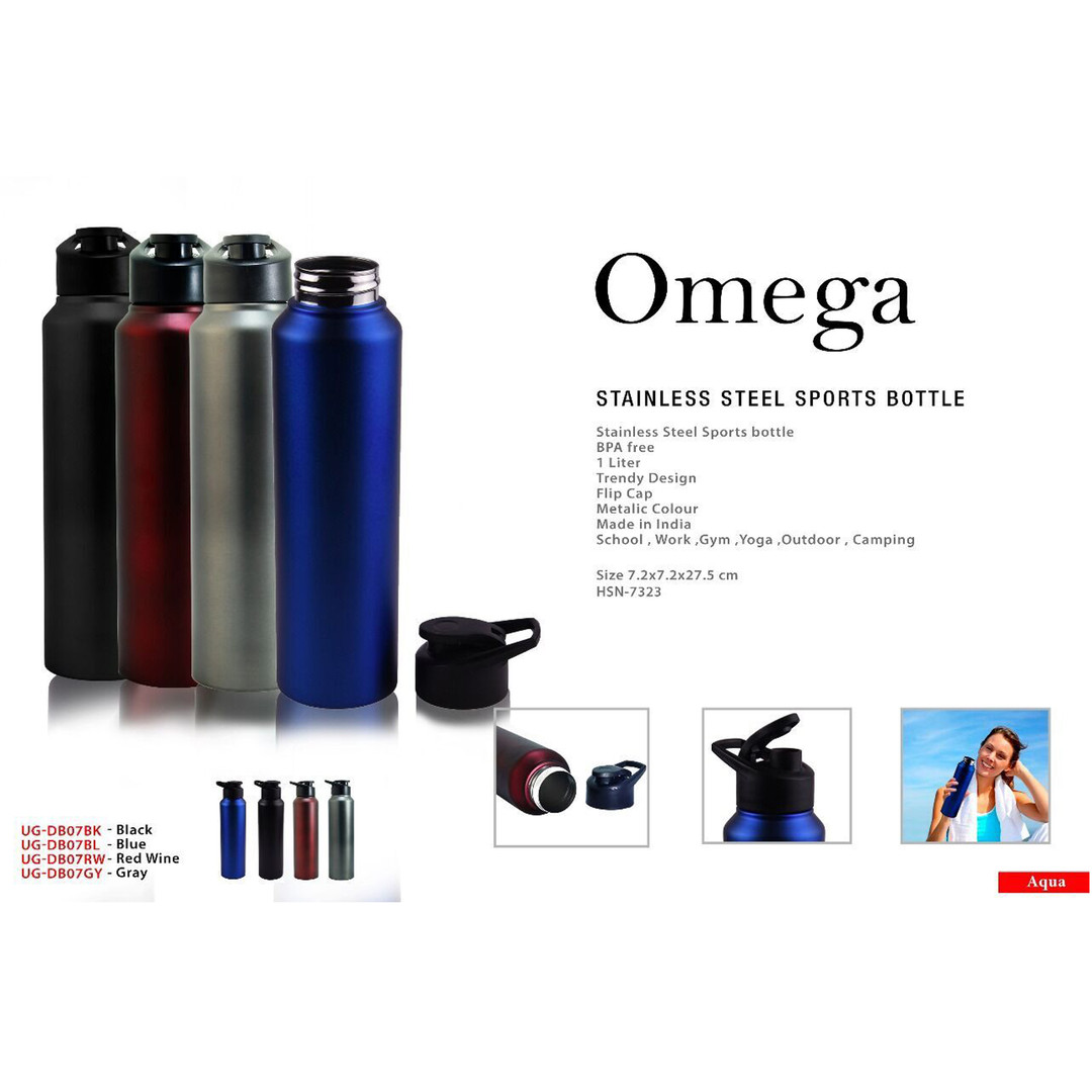 omega stainless steel sports bottle squa