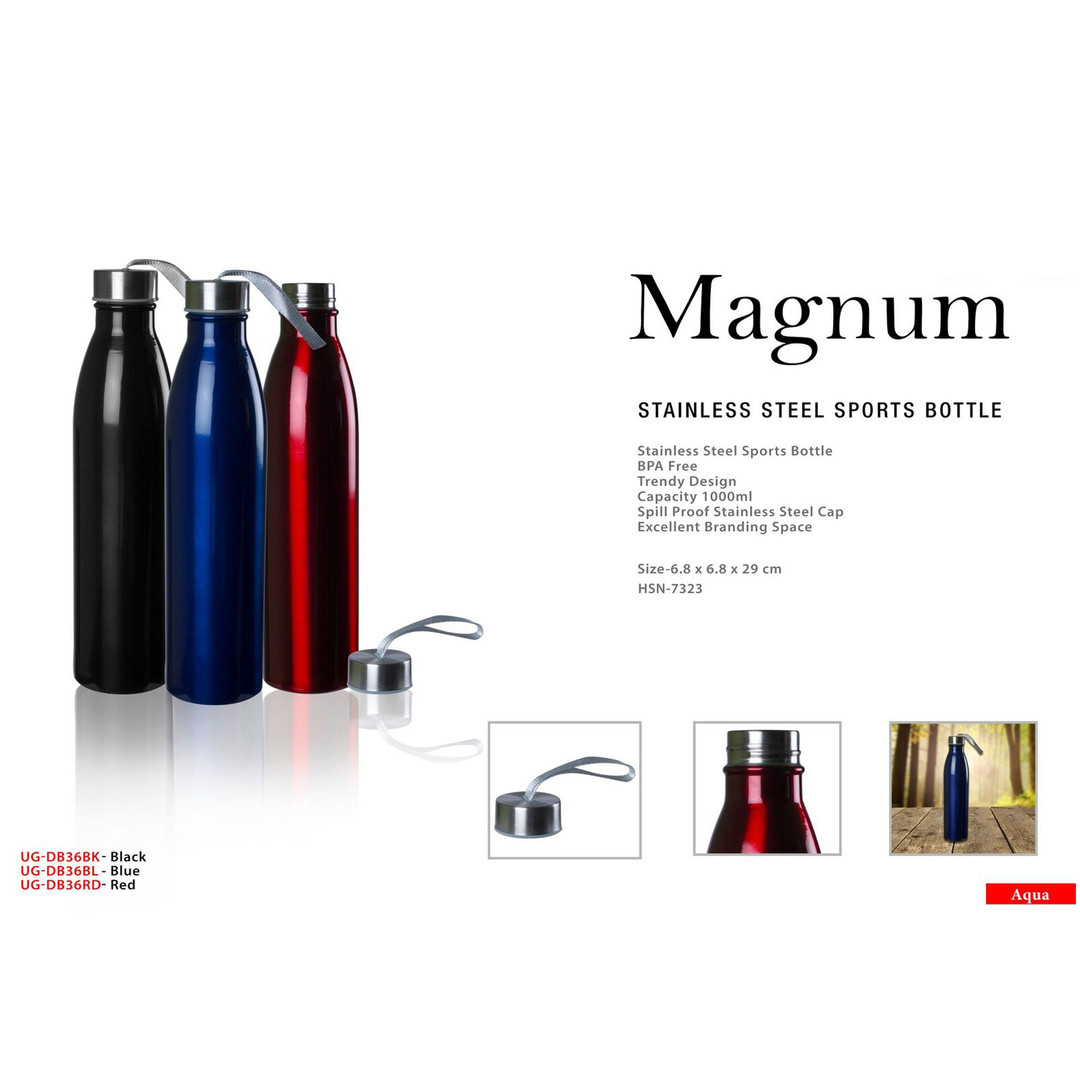 magnum stainless steel sports bottle squ