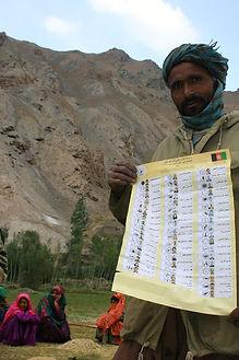 Afghanistan, Bamiyan, election public outreach, sample ballot, 2005 Wolesi Jirga elections