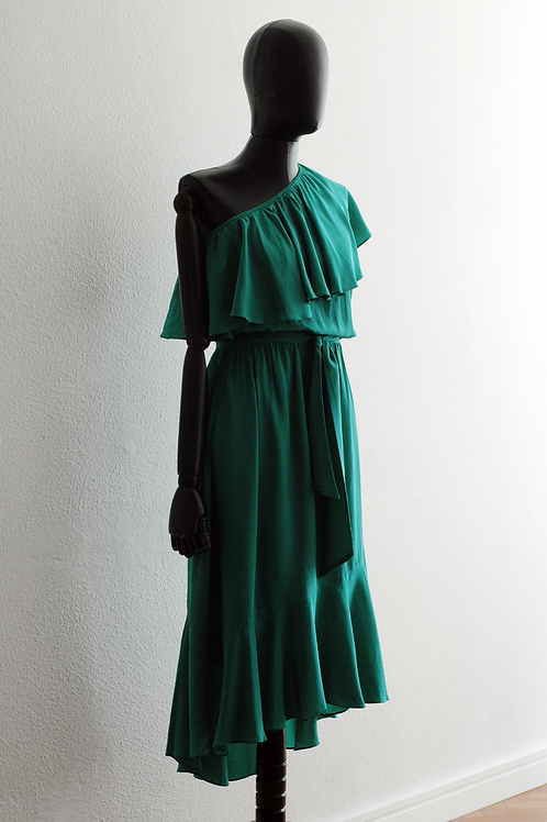 Vestido Seda Babado - 0556