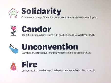 A full description of the core values hangs in a prominent area of each of our three offices.