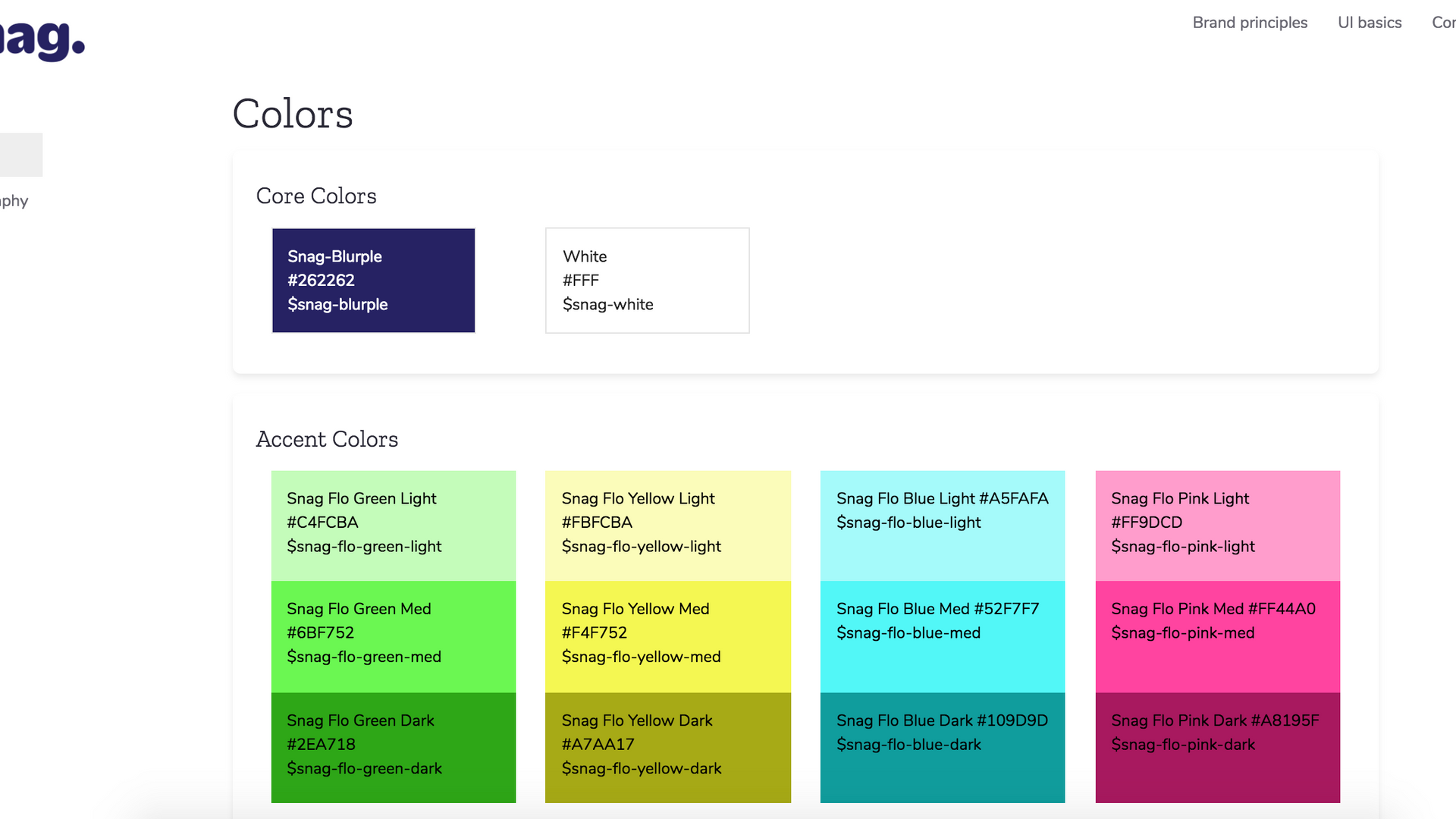 Snag's UI style guide