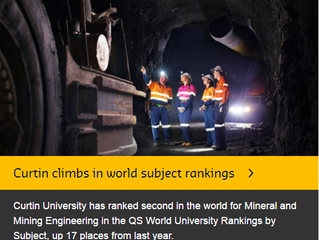 Curtin University has ranked second in the world for Engineering – Mineral and Mining in the QS Worl