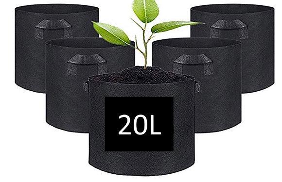 Petit sac de culture en tissu noir non-tissé + poignées (20L)