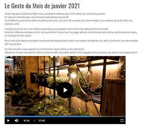"""UG dans l'émission """"Le Geste du Mois"""" de Janvier 2021"""