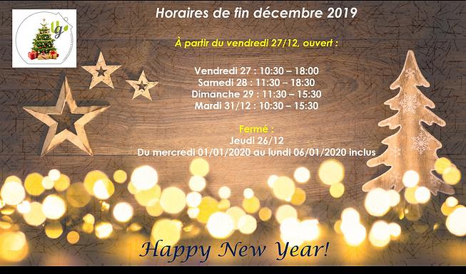 Horaires adaptés en décembre 2019