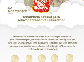 Balões São Roque lança nova cor de seus produtos: Champagne