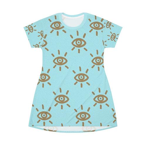 ISeeU-Golden Eye All Over Print T-Shirt Dress