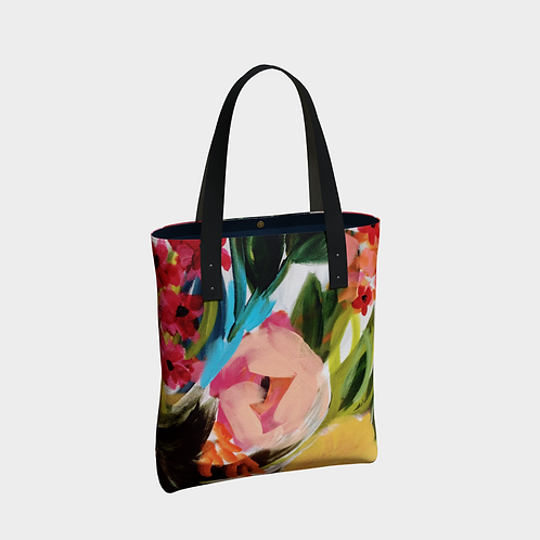 Vegan Leather Straps Painterly Tote