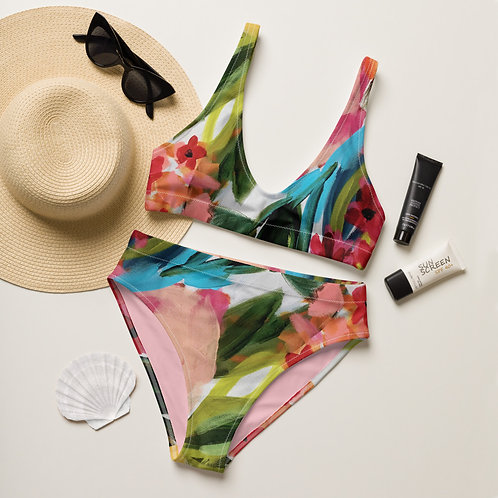 Painterly Recycled high-waisted bikini