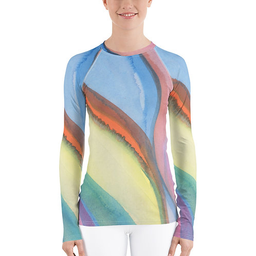Watercolor Abstract Women's Rash Guard