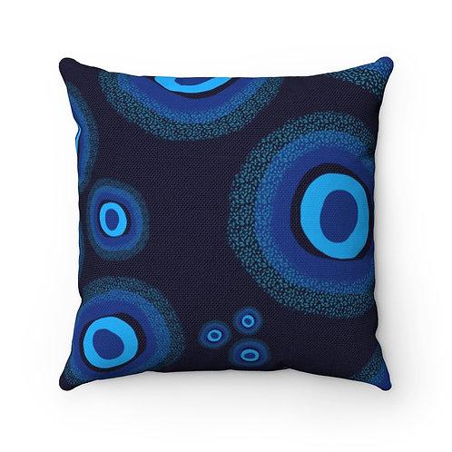 Nazar Blue Spun Polyester Square Pillow