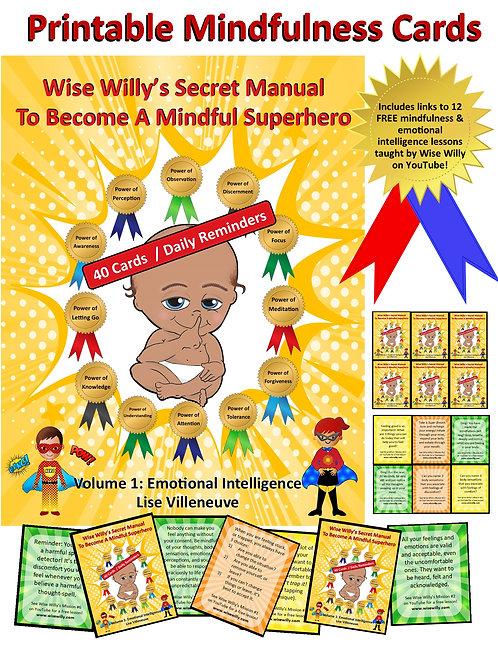 40 Printable Mindfulness / Emotional Intelligence Cards (Daily Reminders)