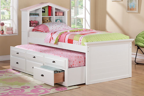 White Slide Out with Drawers and Trundle