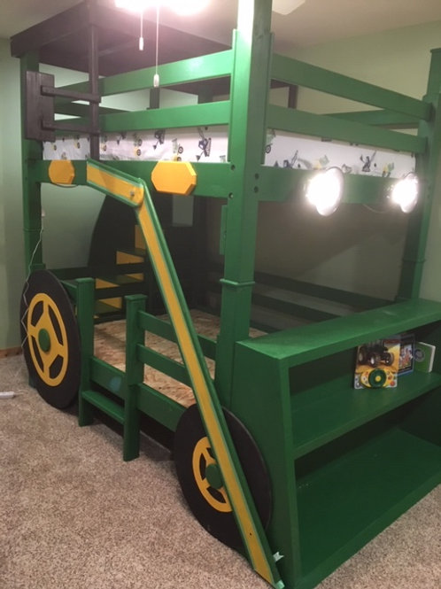 Green Tractor with Lights
