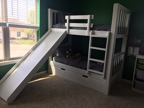 Double Bunk with Slide and Slide Out Storage Under