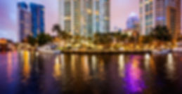 Fort Lauderdale skyline at night along N