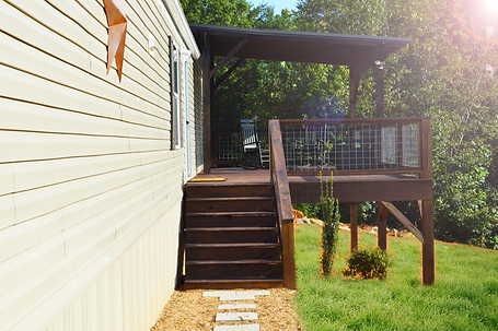 Rear deck with stairs and full railings