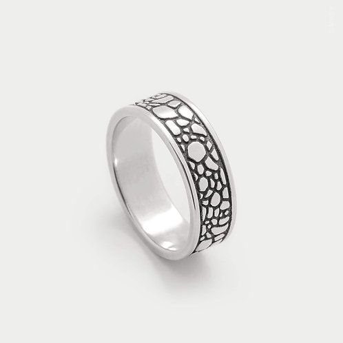 Animal Print Giraffe Patterned Band Ring 6mm Wide Inspired Ornamental Jewellery in Sterling Silver 925