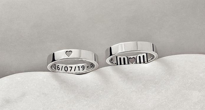 custom personalised sterling argentium silver rings, personalised gifts