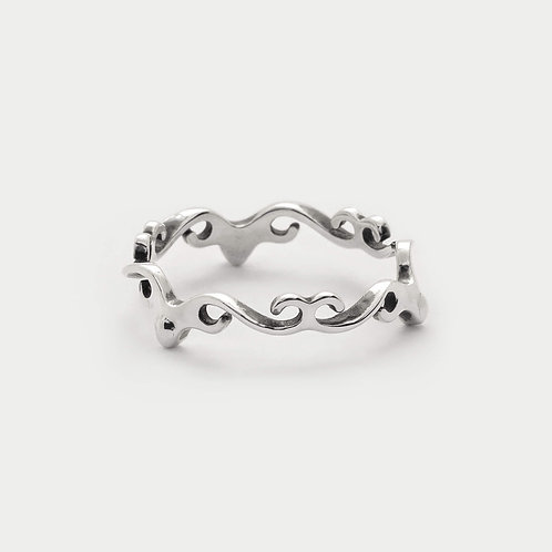hearts swirls ring swirl shaped spiral wave bohemian jewellery in 925 sterling silver from byMazy Design Studi