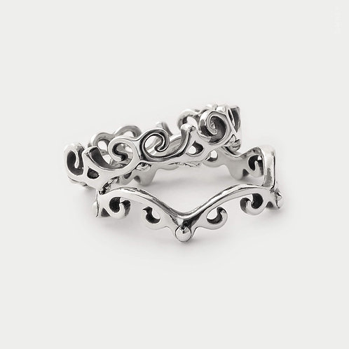 filigree swirl rings stack set minimalist bohemian jewellery inspired by the ancient Celtic symbol