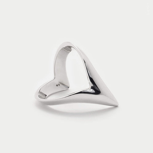 pointed wish-bone ring with v shape band in sterling silver for women