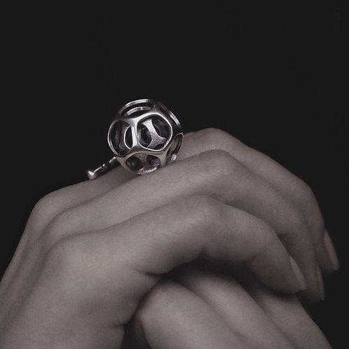 ball and twig adjustable ring geometric contemporary statement 3d printing jewelry in s925 sterling silver