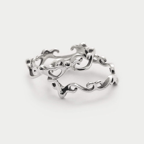 love and life rings stack set heart shaped bohemian jewellery in 925 sterling silver from byMazy Design Studio uk