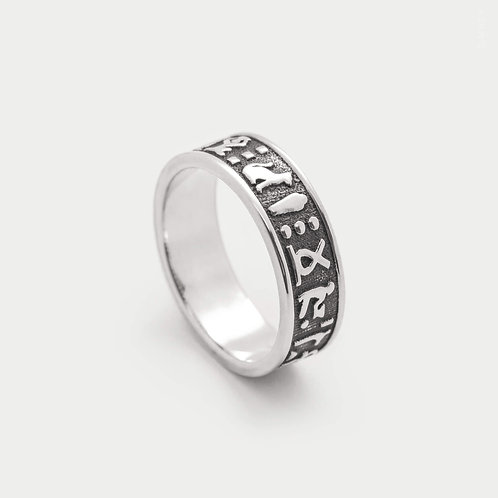 Ancient Egyptian Hieroglyphic Symbols Patterned Band Ring in Sterling Silver