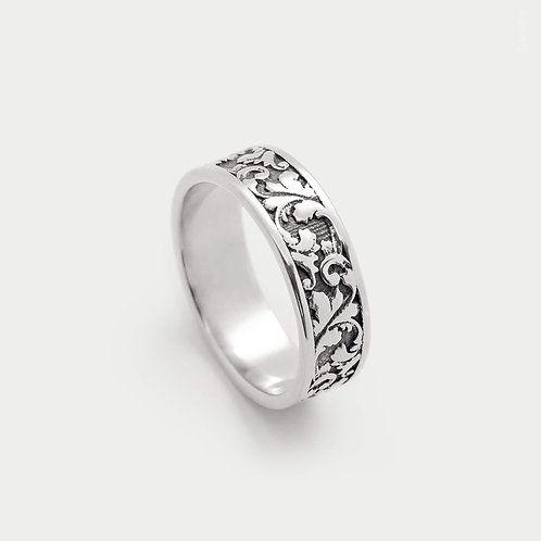 Floral Frieze Inspired Patterned Band Ring. 6mm Wide Inspired Ornamental Jewellery