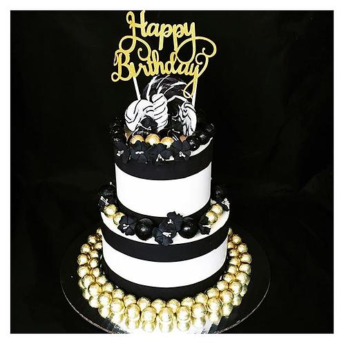 "2-tier gold and black ""Happy Birthday"" SmashCake"