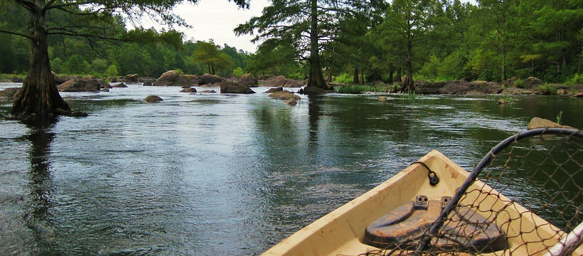 kayaking down a river in search of fish